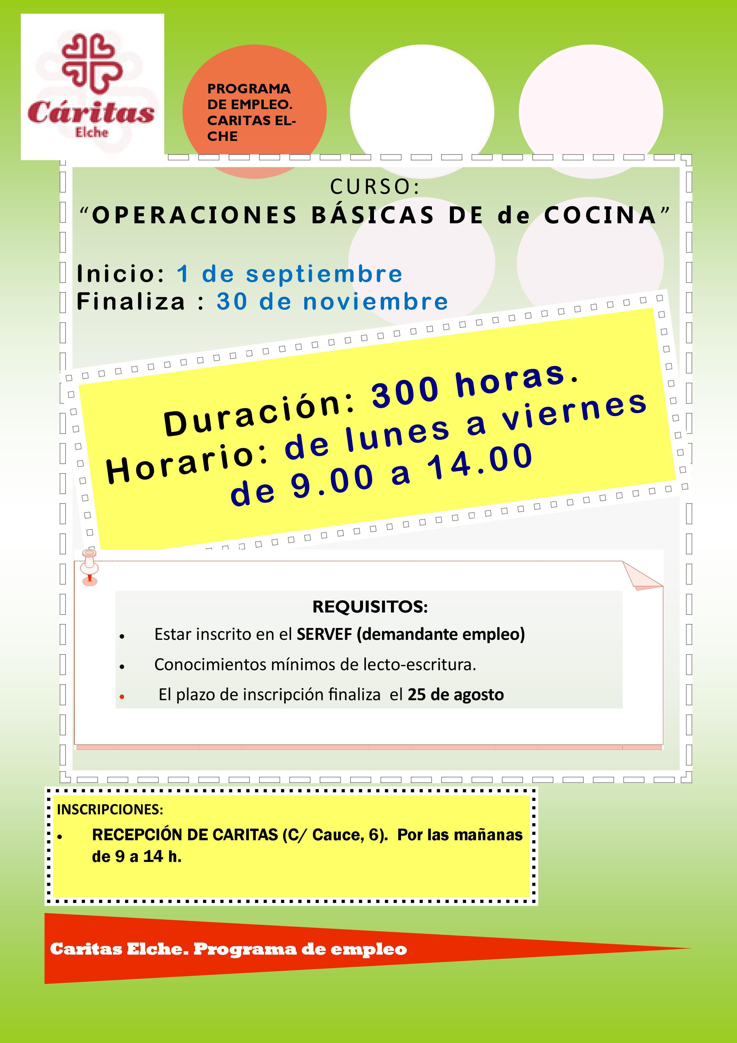 Curso de operaciones b sicas de cocina c ritas elche for Manual operaciones basicas de cocina