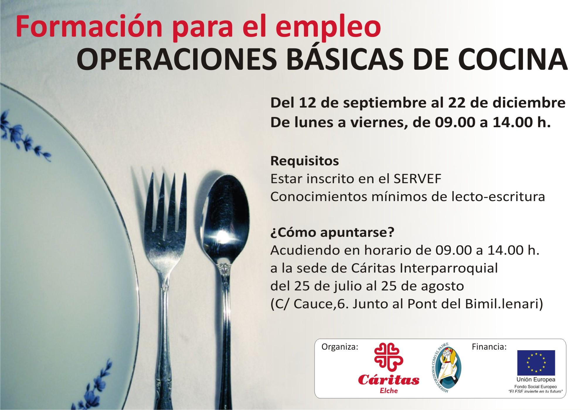 Curso De Operaciones Basicas De Cocina Caritas Elche